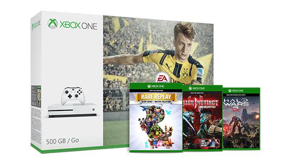 Xbox One S 500GB + 4 gry (FIFA 17, Halo Wars 2, Rare Replay, Killer Instinct) za ~1085zł, wersja 1TB za ~1280zł @ Microsoft (UK)