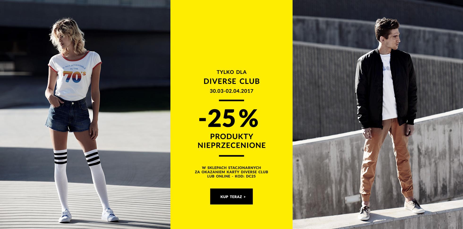 -25% rabatu na całą nieprzecenioną ofertę @ Diverse