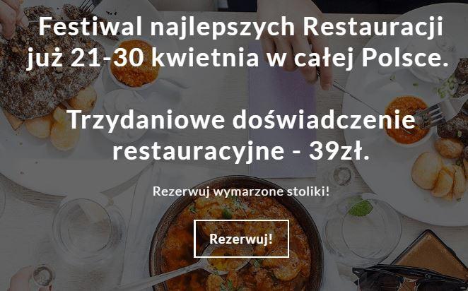 (AKTUALIZACJA) Trzydaniowy obiad w dobrych restauracjach za 35zł (nowe miasta! - edycja 21-30 kwietnia) @ Restaurant Week