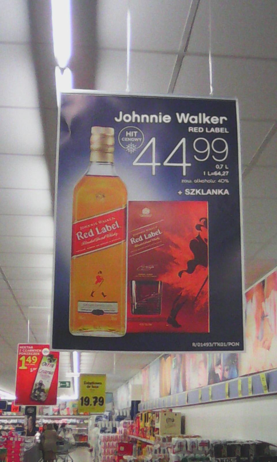 Johnnie Walker czerwony plus szklanka za 44,99 zł @ Lidl