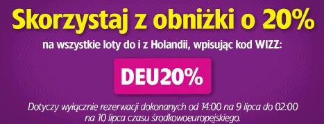 Tylko dzisiaj! 20% zniżki na loty z/do Holandii @ Wizz Air