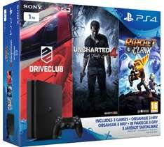 PS4 Slim 1TB + 3 gry (Driveclub, Ratchet & Clank, Uncharted 4) za 1390 zł