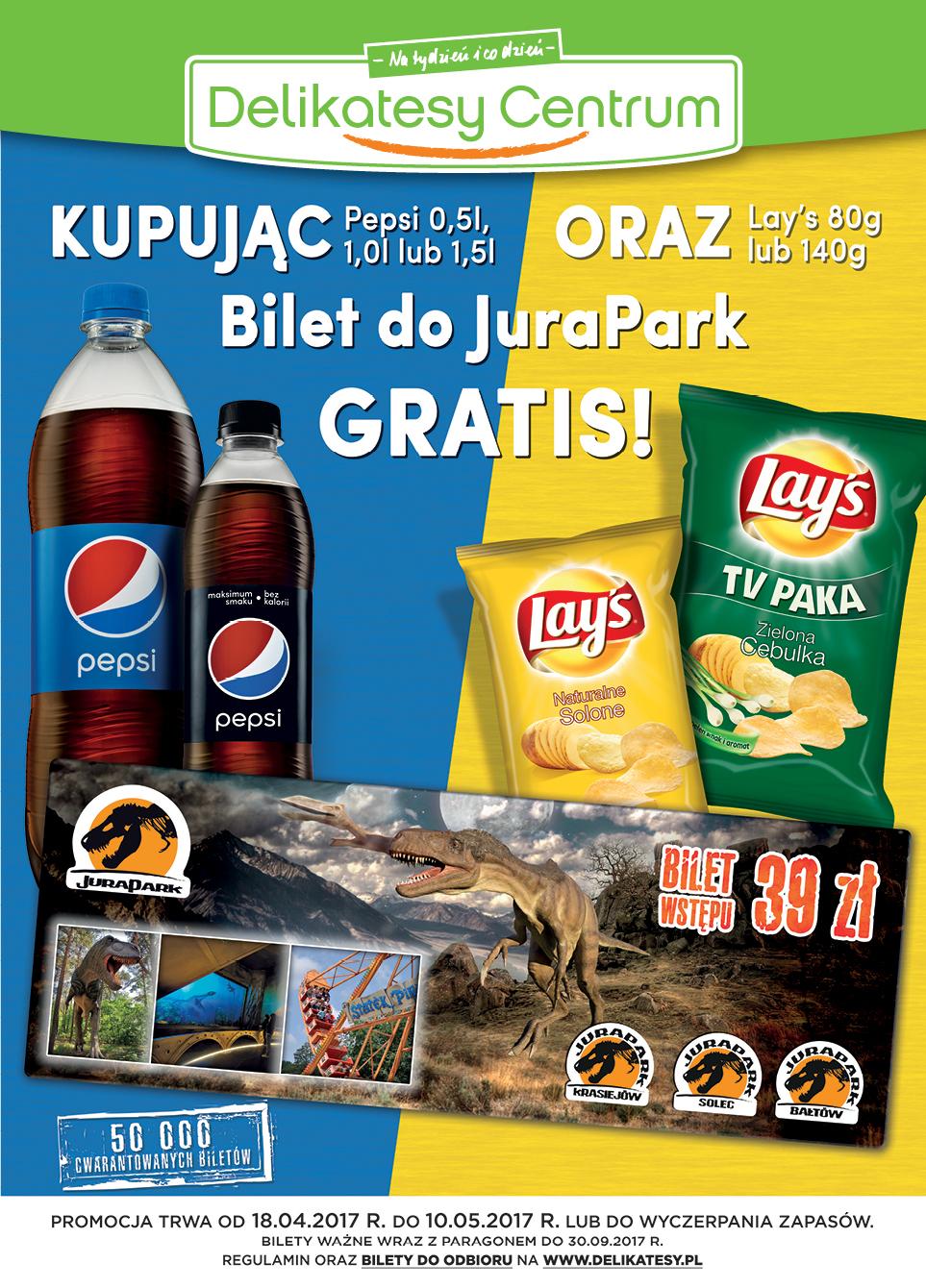 Bilet do JuraPark gratis za zakup dowolnego napoju Pepsi i dowolnej paczki Lay's @ Delikatesy Centrum