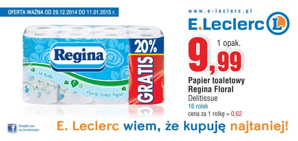16 rolek papieru toaletowego Regina za 9,99zł @ E.Leclerc