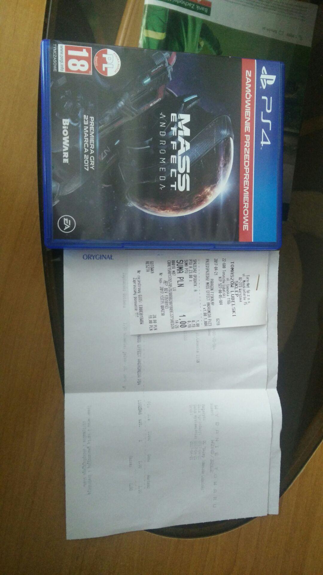 Pudełko z kodem DLC z Mass Effect Andromeda za 1zł