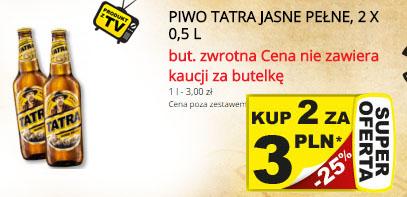 Piwo Tatra jasne pełne za 1,50zł (przy zakupie dwóch sztuk) @ Żabka/Freshmarket