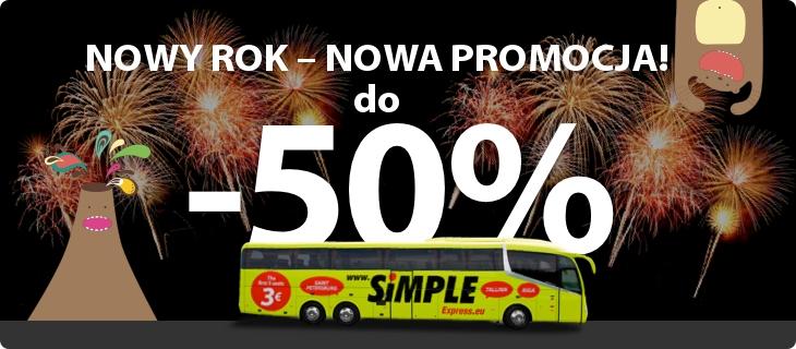 Kod rabatowy -50% oraz -30% na wszystkie trasy autobusowe @ Simple Express