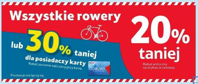 Wszystkie rowery taniej 30% z kartą Clubcard @Tesco