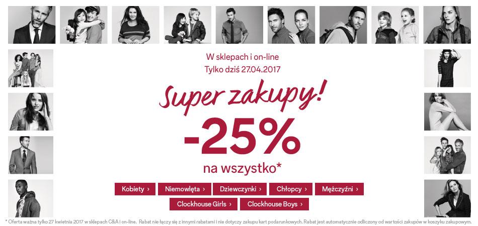Promocja -25% na wszystko w C&A (również art. przecenione, stacjonarnie i online) - tylko 27.04