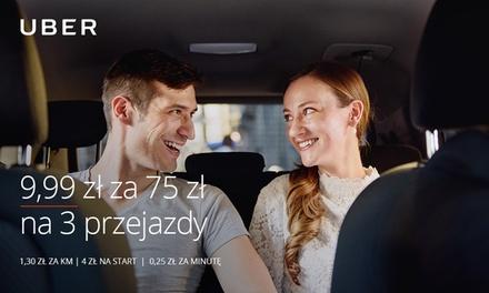 9,99 zł zamiast 75 zł na 3 przejazdy z Uber (tylko dla nowych)
