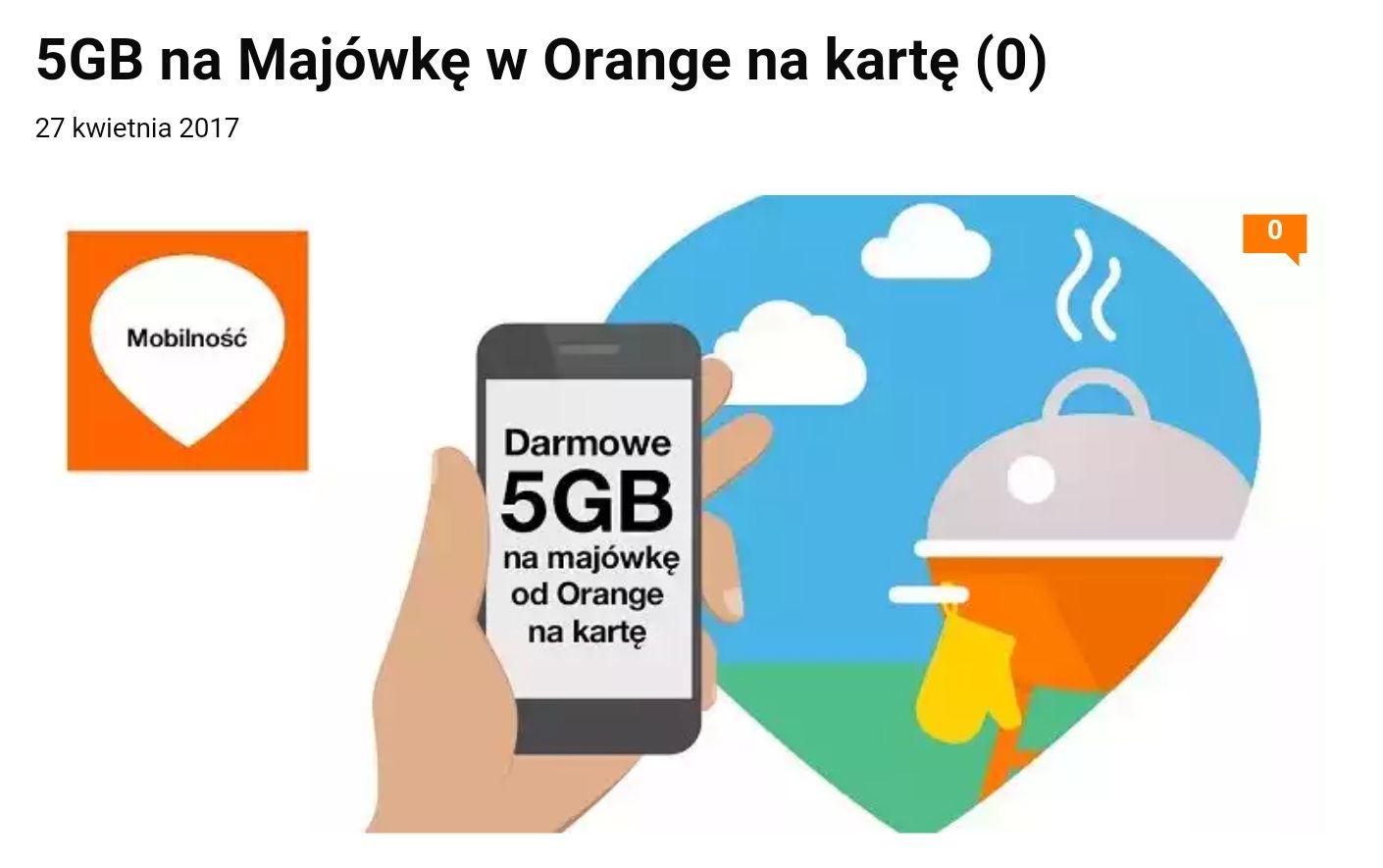 5Gb internetu na majówkę od @ orange za Free