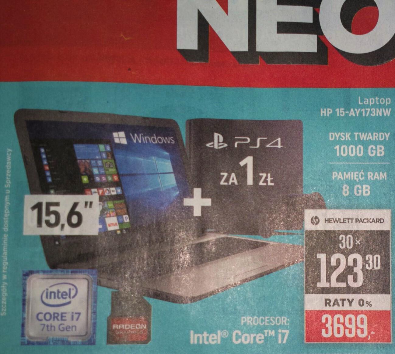 Neonet. Laptop hp 15-ay173nw + ps4 za 1zl 04.05-10.05.2017