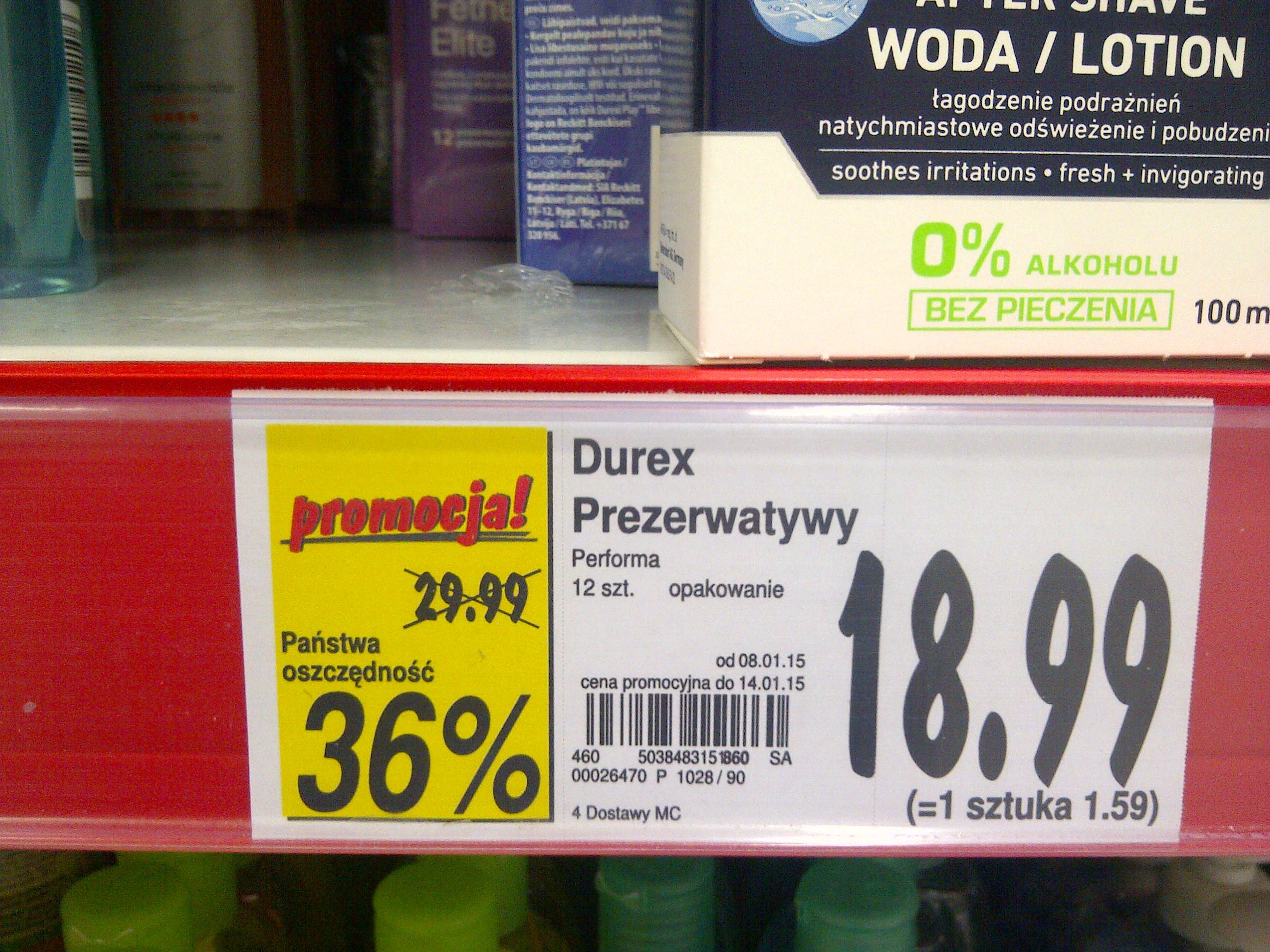 Prezerwatywy Durex 12 sztuk za 18,99 zł @ Kaufland