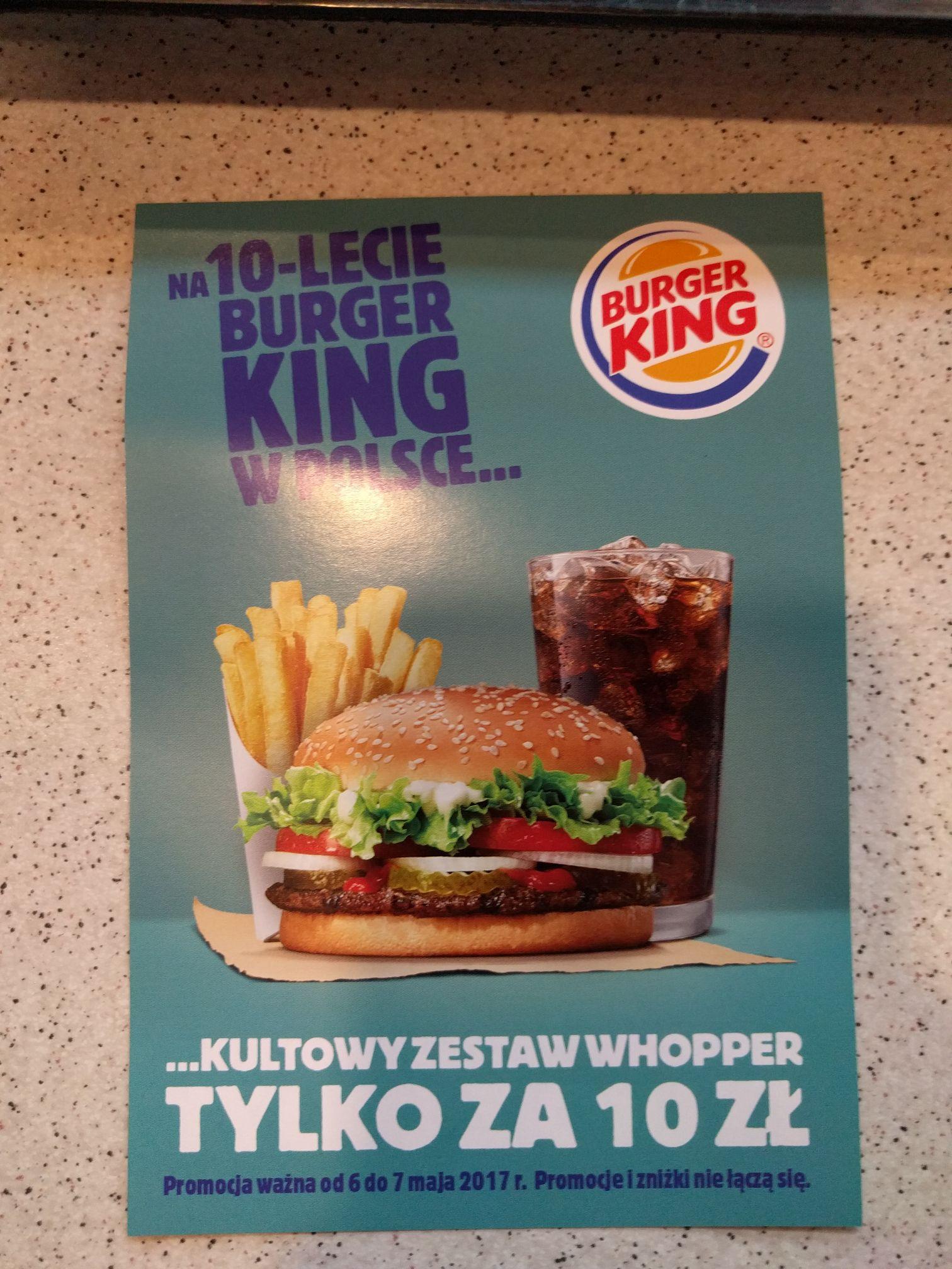 Burger King: Zestaw Whopper za 10 złotych