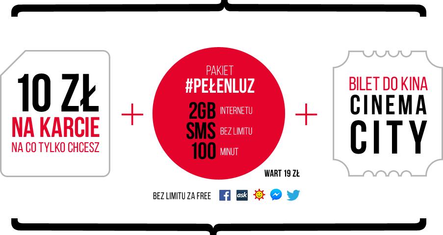 starter z 10zł na karcie + pakiet #PEŁENLUZ (2GB, 100min, SMS bez limitu) + BILET do kina @ Virgin
