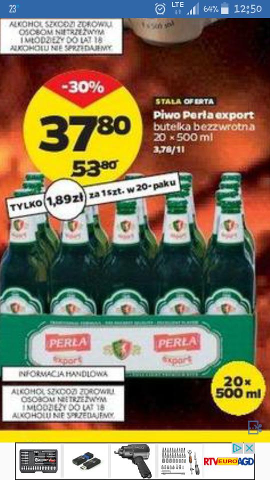 Piwo perła export 20 x 0.5L butelka bezzwrotna od 6 lipca @Netto