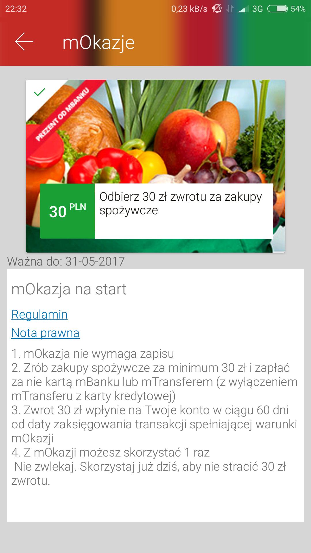 Zwrot 30zl za zakupy kartą w mBanku