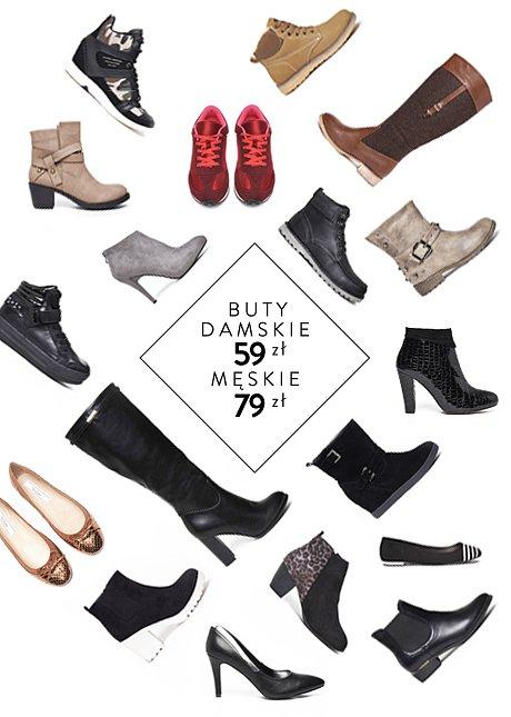 Buty damskie 59zł, buty męskie 79zł @ Top Secret