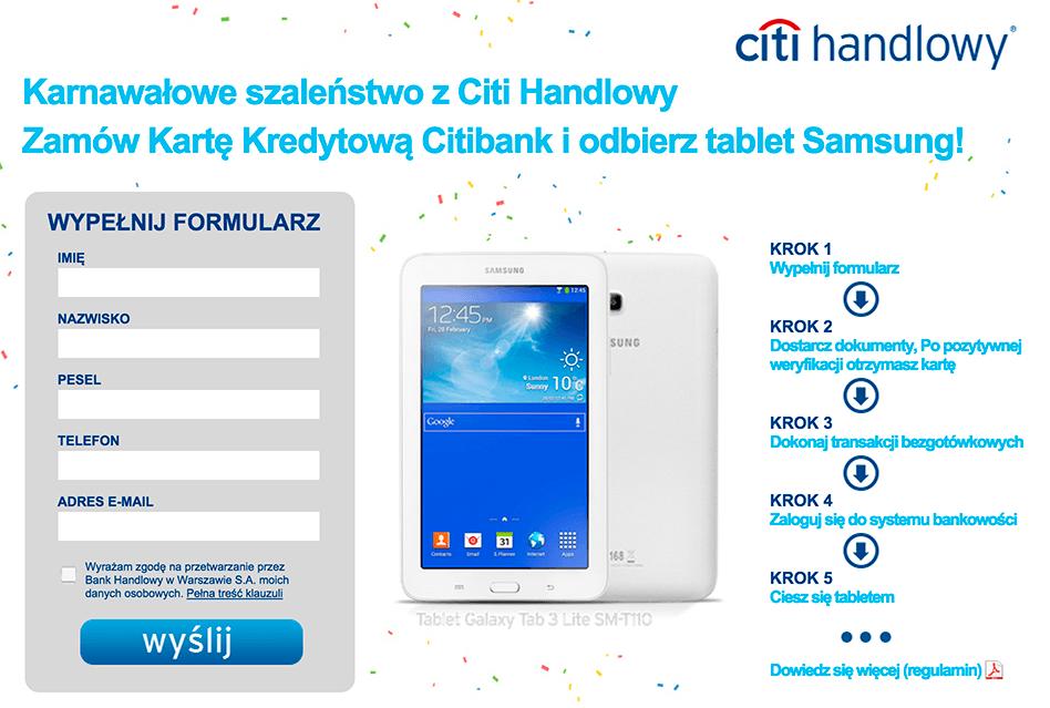 Tablet Samsung Galaxy lite SM-T110 za 0 zł - założenie karty kredytowej CITIBANK