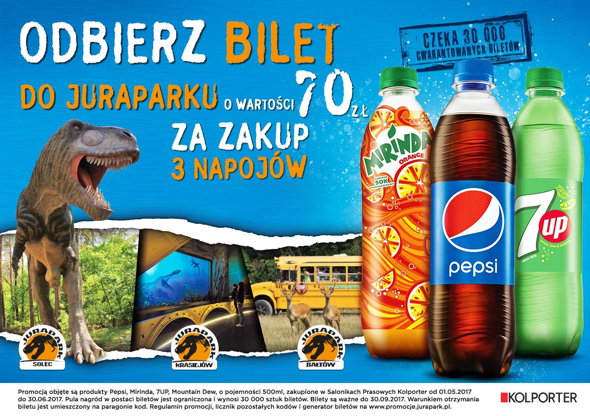Bilet do Jurapark za zakup 3 napojów koncernu pepsi 0,5 litra w Kolporterze