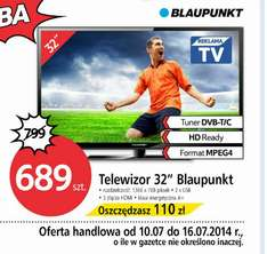 "Telewizor 32"" Blaupunkt za 689 zł @ Tesco"
