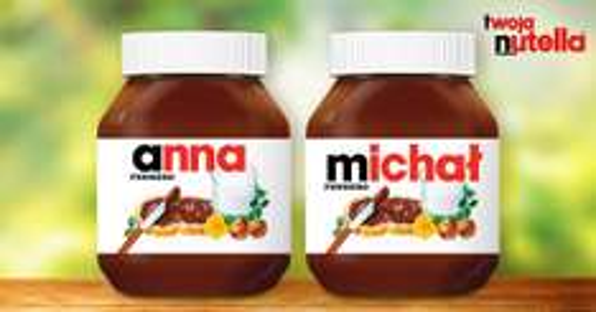 2 etykiety na słoiki z Twoim imieniem @ Nutella