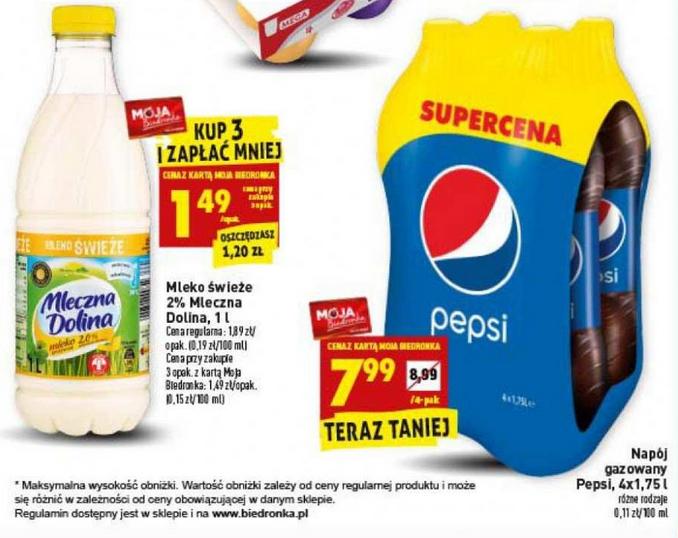 Mleko świeże 2% Mleczna Dolina 1l oraz Pepsi 4x1,75l za 7,99zł Biedronka