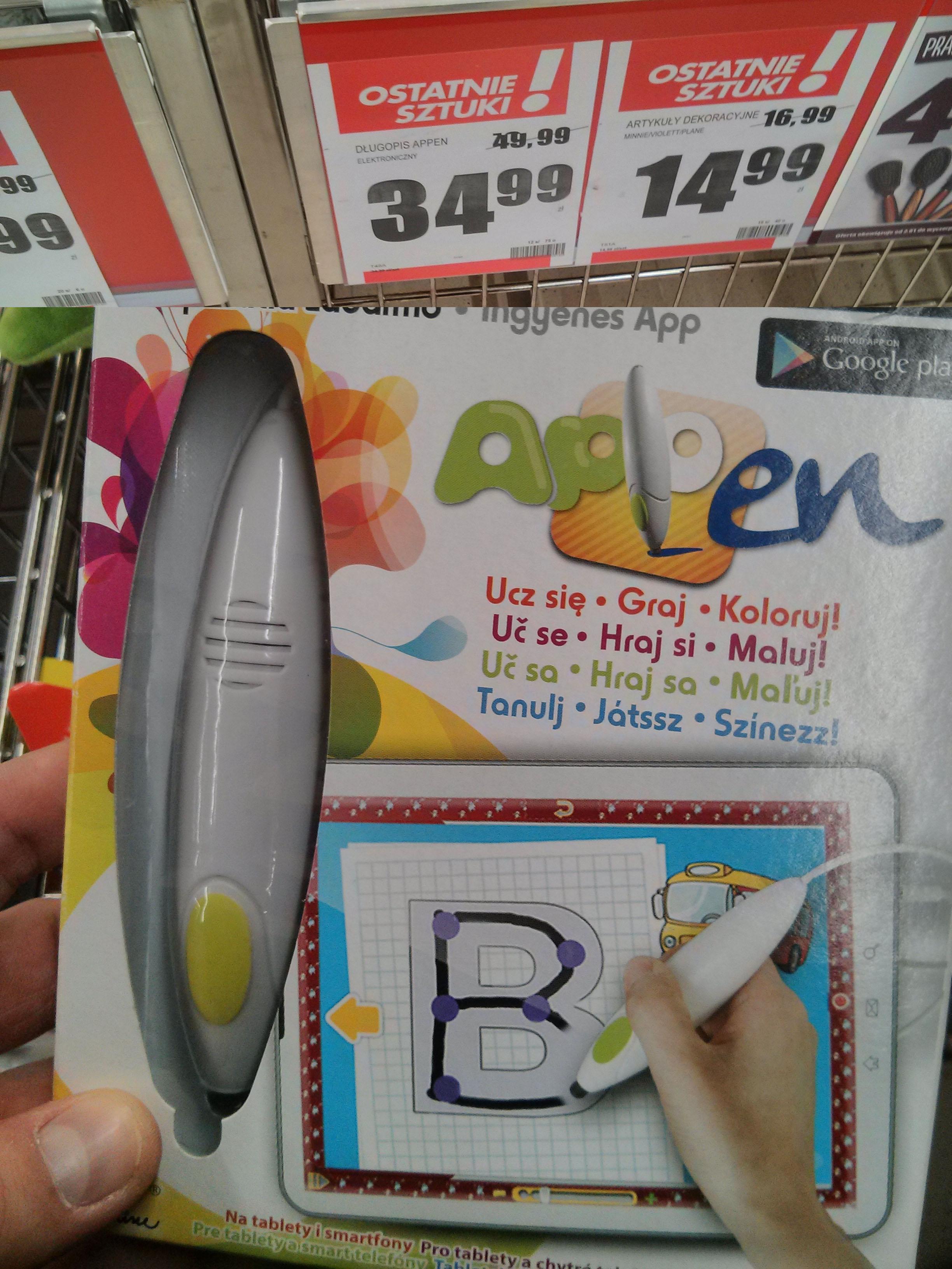 Appen - elektroniczny długopis dla dzieci za 34,99zł @ Biedronka