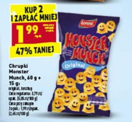 Chrupki Monster Munch 75g original, ketchup 47% taniej Biedronka