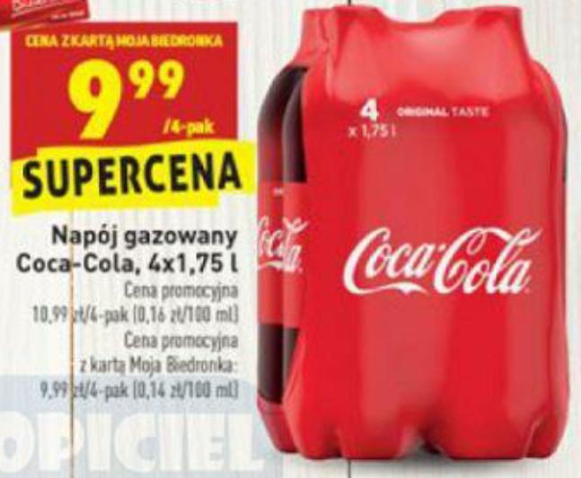 Piwo Carslberg 3x0,5l za 5,67 zł/Coca-Cola 4x1,75l za 9,99 zł z kartą MB @Biedronka