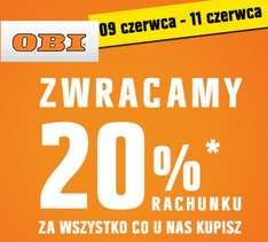 20% zwrotu na kartę podarunkową w Obi Opole