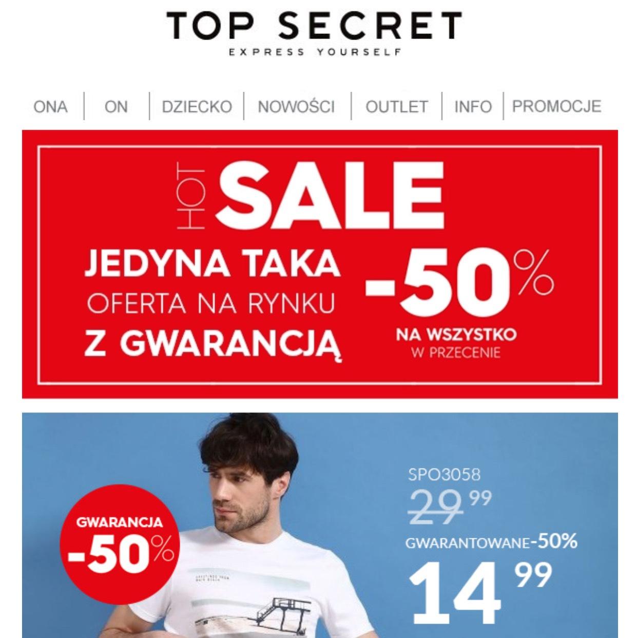 -50% na wszystko w przecenie TopSecret