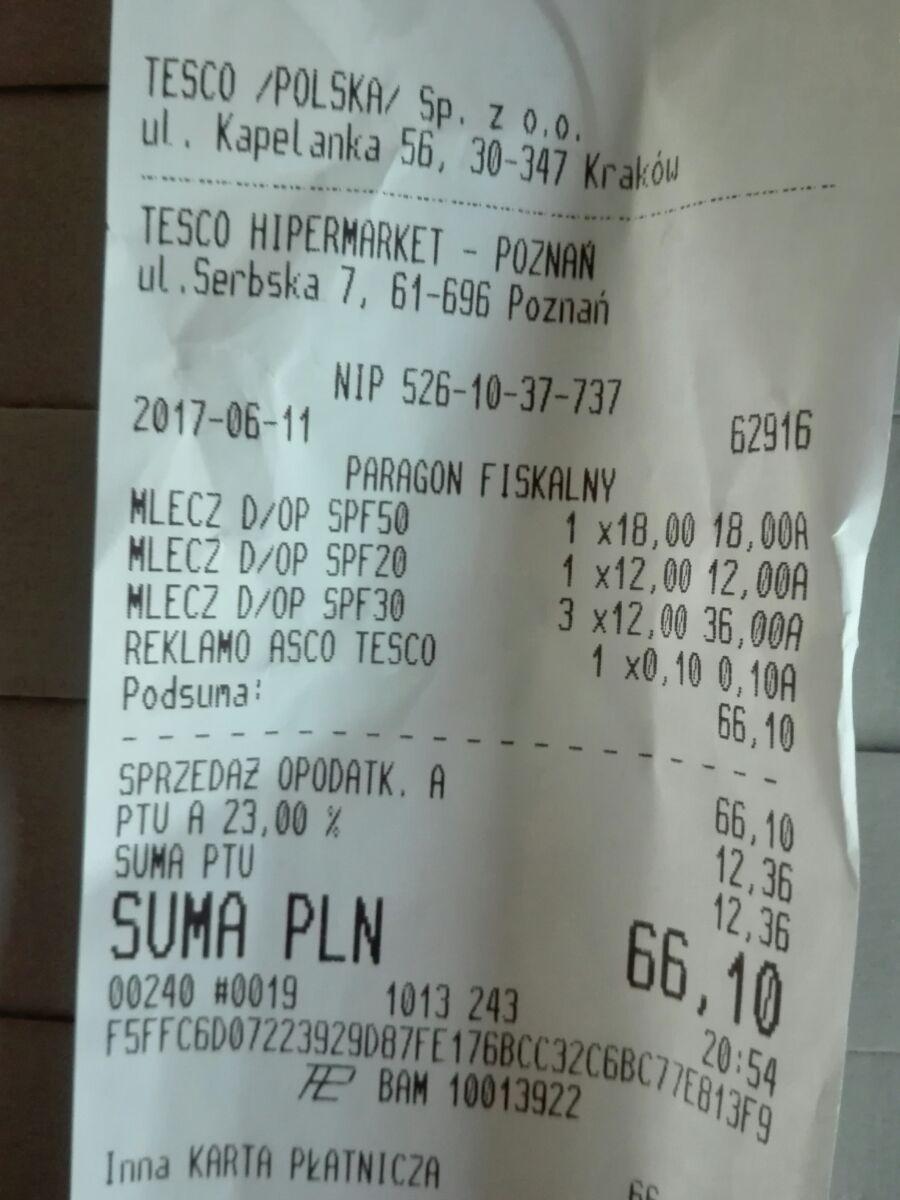 (-70%) mleczko do opalania Garnier 200ml SPV 20 lub 30 za 12zł/ Garniej Senstive 400ml SPV 50+ za 18zł @ Tesco (Poznań Serbska)