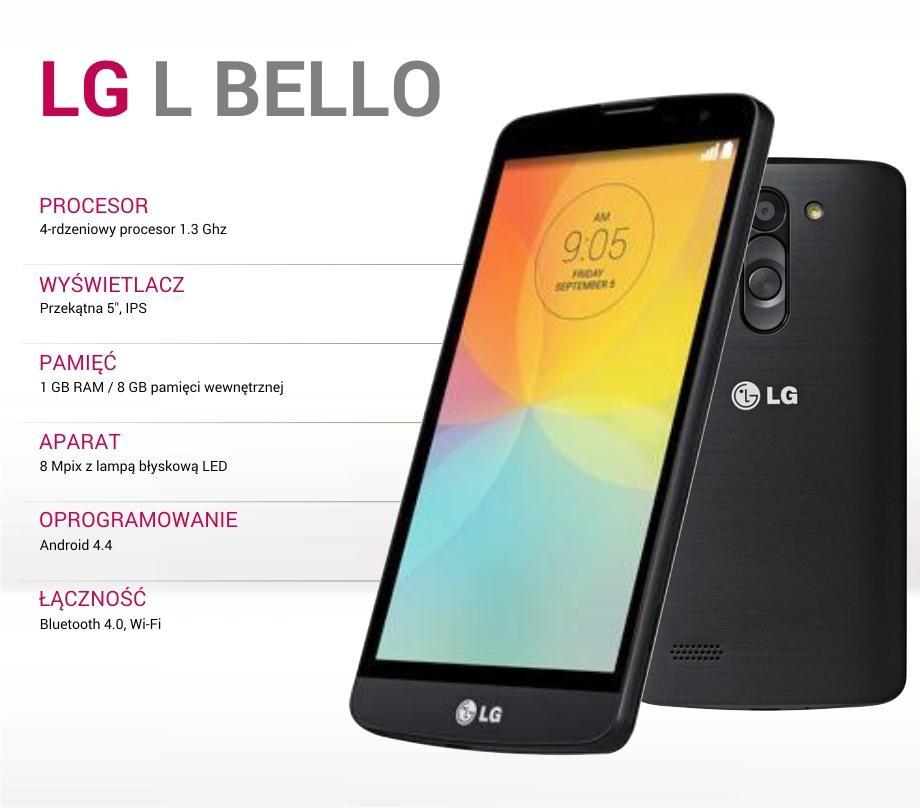 LG L Bello Czarny (5 cali, 4 rdzenie, 1 GB RAM) + karta 16GB za 649zł @ Allegro