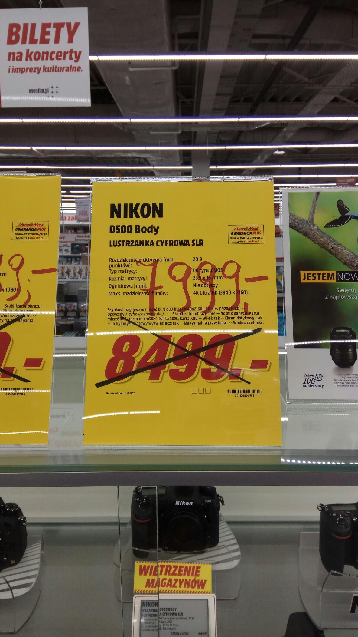 Nikon D500 MediaMarkt Olsztyn -750zł