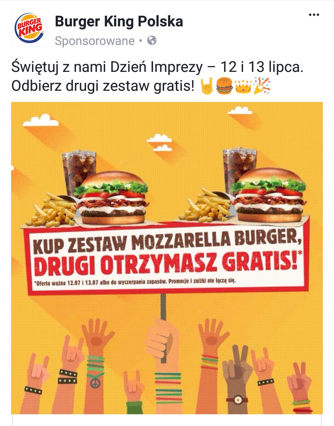 Drugi zestaw Mozzarella Burger gratis 12-13.07 @Burger King