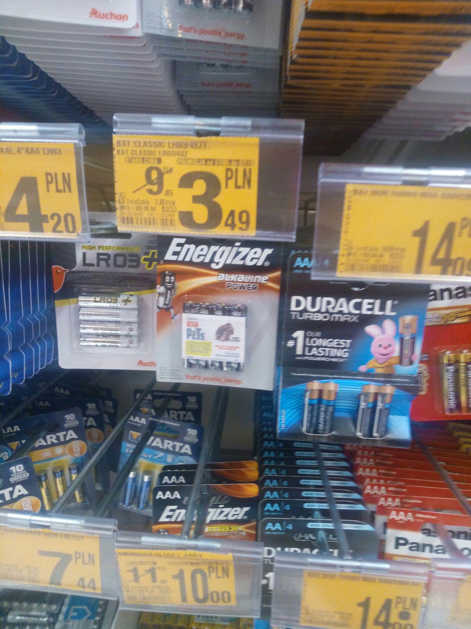 Baterie Energizer alkaline power AA oraz AAA @Auchan