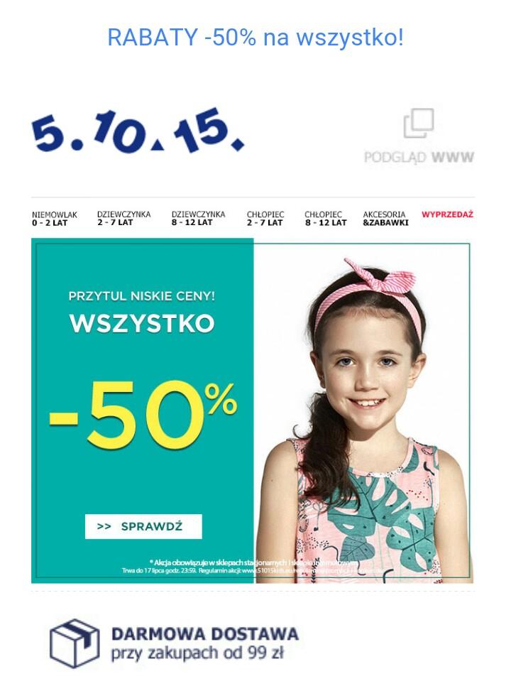 -50% wyprzedaż w sklepie 5 10 15 z ubraniami dla dzieci