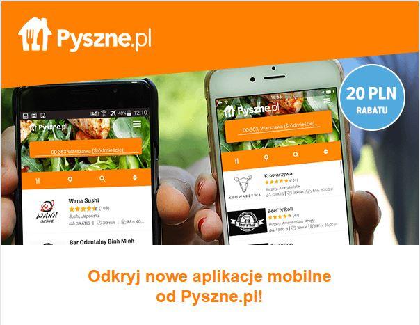 Kupony 20zł przez aplikacje mobilne @ Pyszne