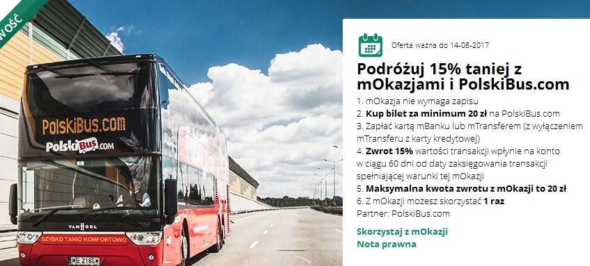 Zwrot -15% za zakup biletu na podróż Polskim Busem @ mBank