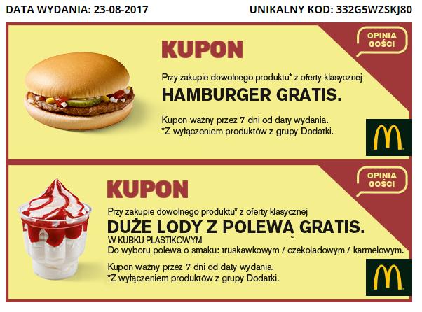 Mcdonald's - Darmowy Hamburger/Duże lody - Ankieta, Generator kodów!