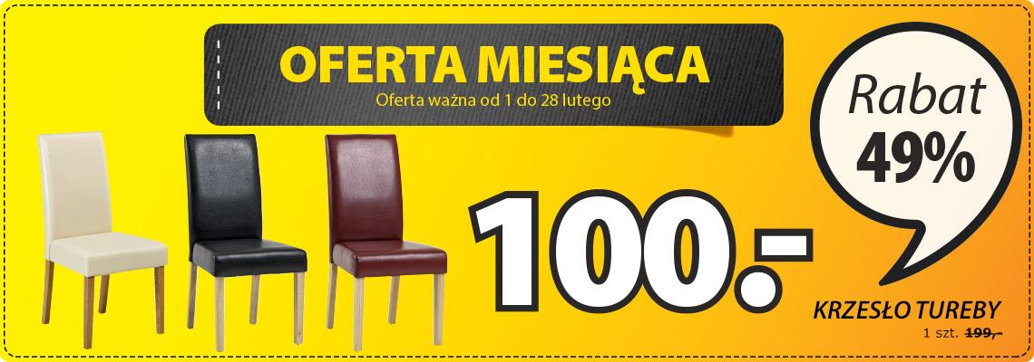 Krzesło TUREBY skóra ekologiczna za 100zł (-50%) @ Jysk
