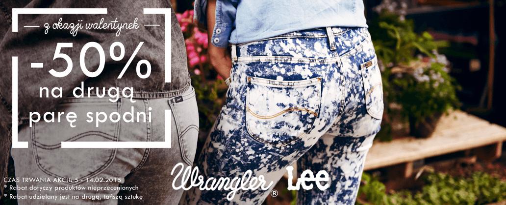 -50% na drugą parę spodni Lee/Wrangler @ Bluestilo