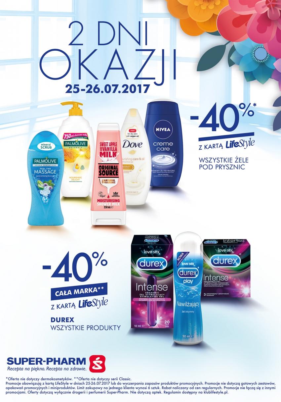 2 Dni Okazji Super-Pharm  wszystkie żele pod prysznic oraz cała marka Durex -40%