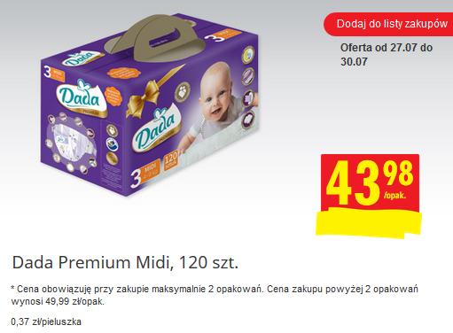 Pieluszki Dada Premium (duża paczka) za 43,98zł @ Biedronka