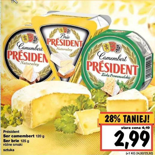 Serek pleśniowy President Camembert lub Brie za 2,99 zł @ Kaufland