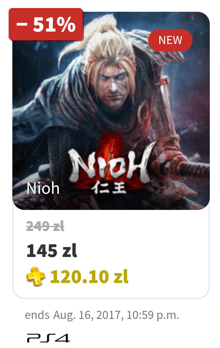 Nioh PS4 100.20PLN dla posiadaczy PS+