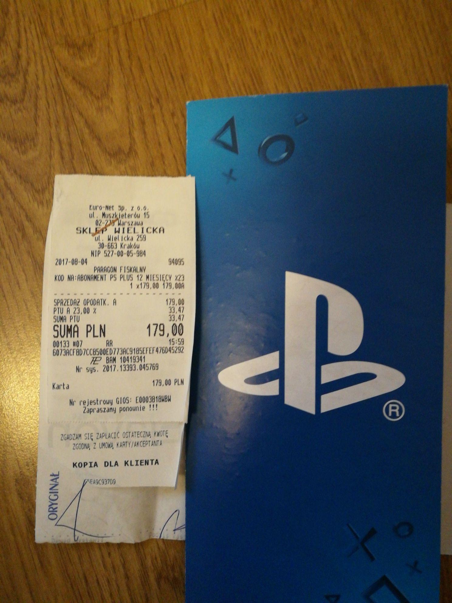 Subskrypcja PlayStation Plus na rok