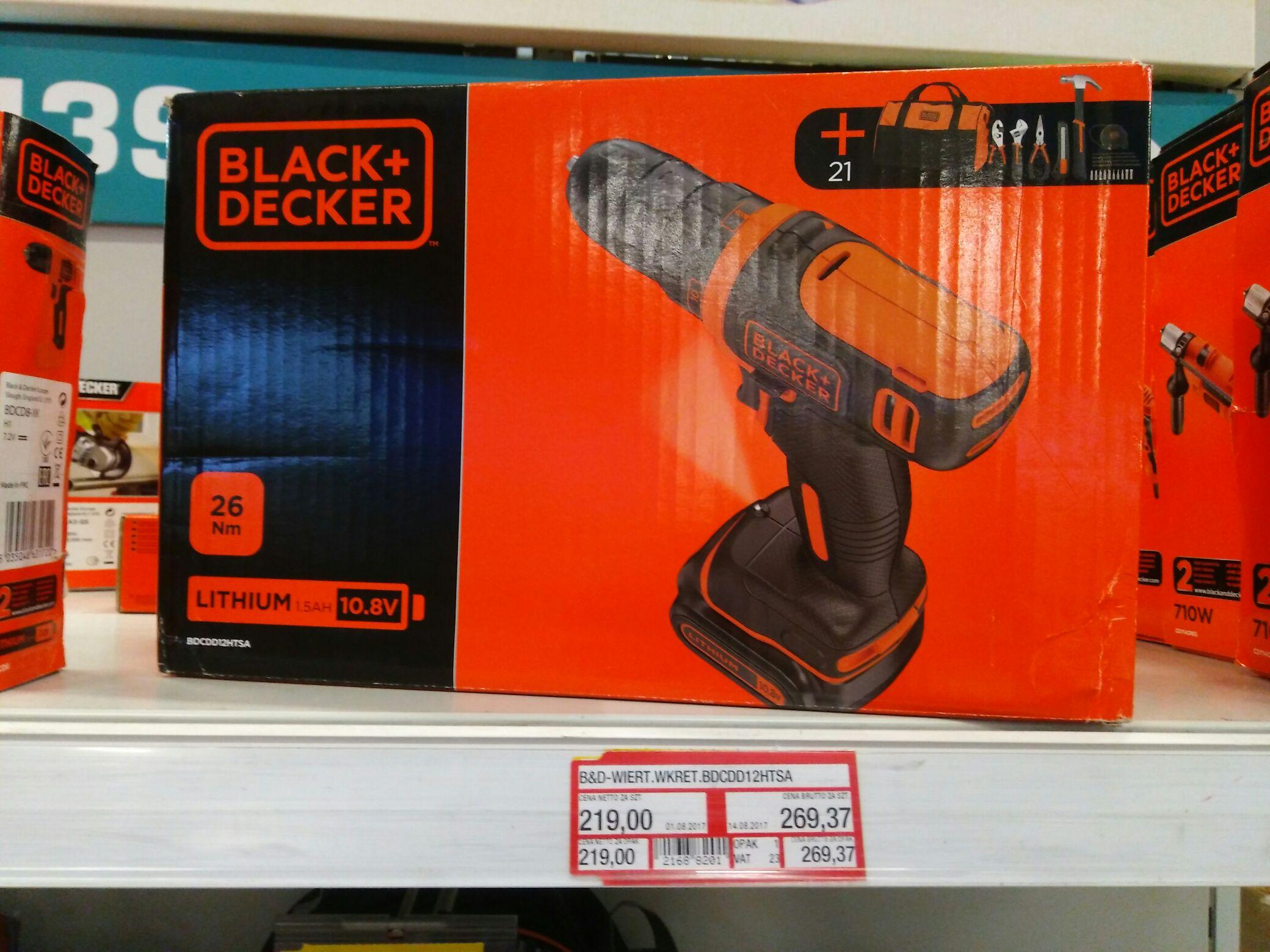 Wkrętarka Black&Decker BDCDD12HTSA + narzędzia