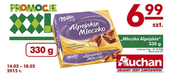 Alpejskie Ptasie Mleczko Milka w cenie 6,99zł @ Auchan